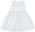 Sal & Pimenta Girls Dress with Sash - Periwinkle Blue Stripes & Embroidered Bows