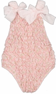 Sal & Pimenta Girls Frilled Swimsuit - Pink Lily Floral with Bows