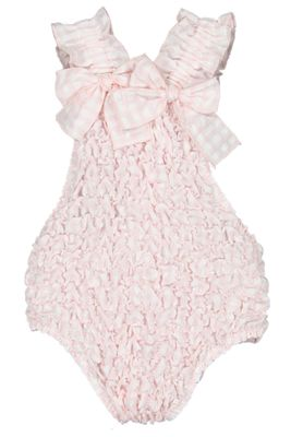 Sal & Pimenta Girls Frilled Swimsuit - Rose Pink Gingham with Bows