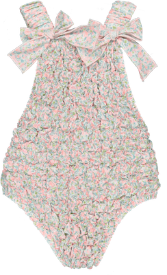 Sal & Pimenta Girls Frilled Swimsuit - Tuberose Blue / Pink Floral with Bows