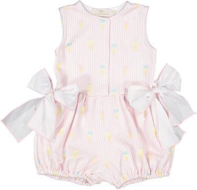 Sal & Pimenta Girls Pink Cover Up Romper with Side Bows - I Melt with You Ice Cream Print