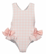Sal & Pimenta Girls Square One Swimsuit - Blush Pink Check - Bows on Hips