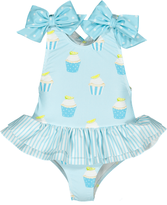 Sal & Pimenta Girls Swimsuit - Blue Sugar High Cupcakes - Bows on Shoulders