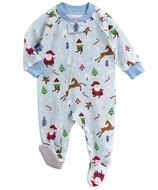 Sara's Prints Baby Boys / Girls Blue Vintage Christmas Footed Pajamas