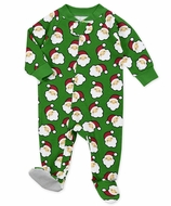 Sara's Prints Baby Boys / Girls Green Santa Christmas Footed Pajamas