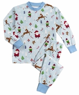 Sara's Prints Boys Blue Vintage Christmas Long Pajamas