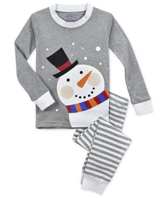 Sara's Prints Boys / Girls Gray Christmas Snowman Long Pajamas