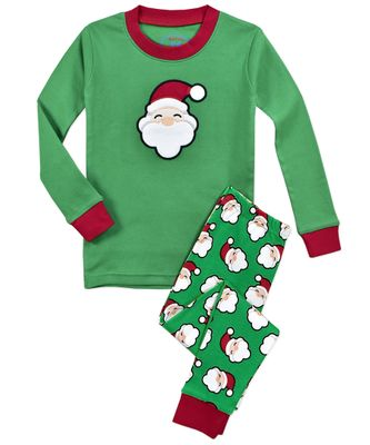 Sara's Prints Boys / Girls Green Santa Face Print Christmas Long Pajamas