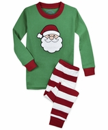 Sara's Prints Boys / Girls Green Santa Face / Red Stripes Christmas Long Pajamas