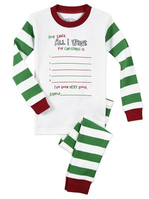 Sara's Prints Boys / Girls Green Striped Long Pajamas - ColorMe PJ - All I Want for Christmas
