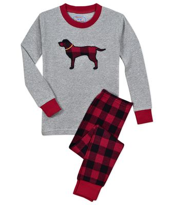 Sara's Prints Boys / Girls Red / Gray Plaid Dog Christmas Long Pajamas