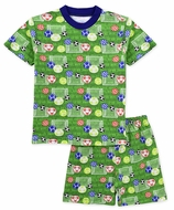 Sara's Prints Boys Short Pajamas - Green Backyard Soccer