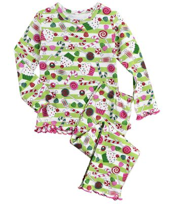 Sara's Prints Girls Green Christmas Sugarplums Long Ruffle Pajamas