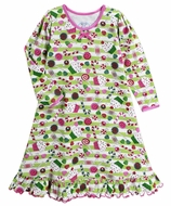 Sara's Prints Girls Green Christmas Sugarplums Nightgown