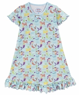Sara's Prints Girls Nightgown - Aqua / Purple Lovely Mermaids
