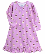 Sara's Prints Girls Pink Happy Llamas Nightgown