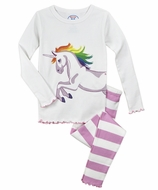Sara's Prints Girls Pink Striped Unicorn Long Pajamas