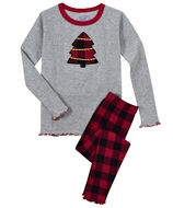 Sara's Prints  Girls Red / Gray Plaid Christmas Tree Snug Fit Pajamas