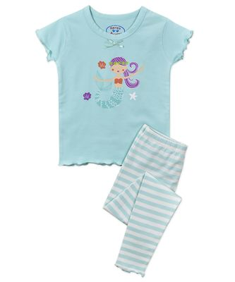 Sara's Prints Girls Snug Fit Pajamas - Aqua Stripes Mermaid
