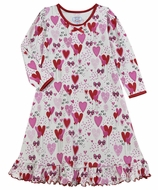 Sara's Prints Girls Whirl & Twirl Nightgown - Pink & Red Hearts & Balloons