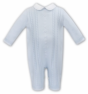 Sarah Louise Baby Boys Blue Sweater Knit Cable Front Romper with Collar