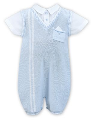 Sarah Louise Baby Boys Blue Sweater Knit Romper with Shirt