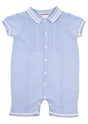 Sarah Louise Baby Boys Cable Knit Sweater Romper - Polo Collar - Blue