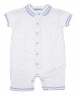 Sarah Louise Baby Boys Cable Knit Sweater Romper - Polo Collar - White