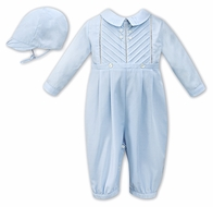 Sarah Louise Baby Boys Dressy Pleated Romper with Hat - Blue