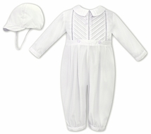 Sarah Louise Baby Boys Dressy Pleated Romper with Hat - Ivory