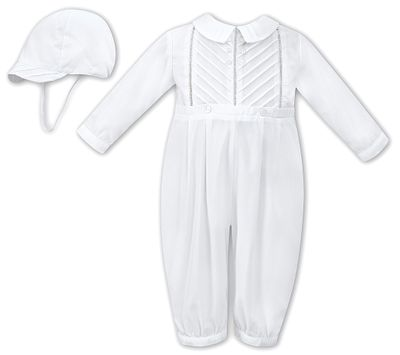 Sarah Louise Baby Boys Dressy Pleated Romper with Hat - White