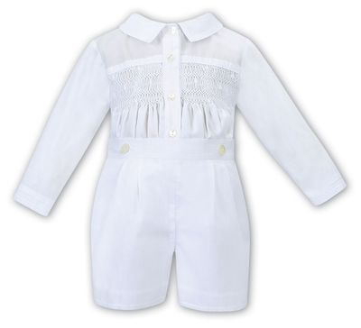 Sarah Louise Baby Boys Dressy White Smocked Button On Suit