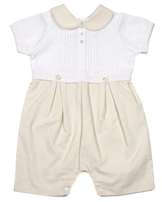 Sarah Louise Baby Boys Ecru Stripe Seersucker Romper with Sweater Knit Top Portion