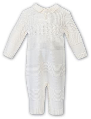 Sarah Louise Baby Boys Ivory Cable Sweater Knit Romper