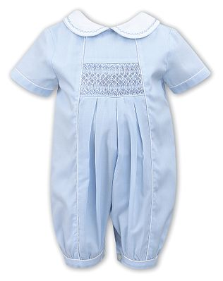 Sarah Louise Baby Boys Blue Smocked Romper with Collar