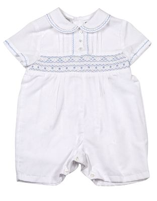 Sarah Louise Baby Boys White Romper - Smocked in Blue