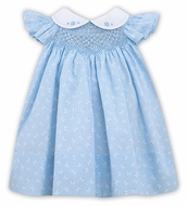 Sarah Louise Baby Girls Blue Butterfly Print Smocked Dress - Flutter Sleeves