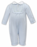 Sarah Louise Baby Girls Sweater Knit Ruffle Front Romper with Collar - Blue