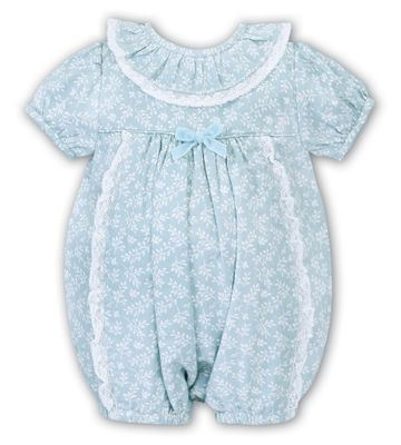 Sarah Louise Baby Girls Aqua Blue Floral Bubble - Lace Trim