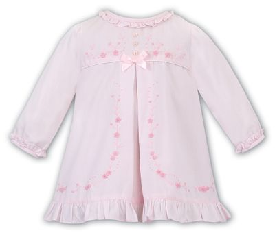 Sarah Louise Baby Girls Embroidered A-Line Dress - Ruffles & Bow - Pink