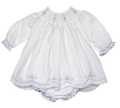 Sarah Louise Baby Girls Off-White Smocked Bishop Dress with Bloomers - Embroidered in Blue