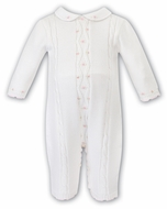 Sarah Louise Baby Girls Ivory Sweater Knit Romper - Pink Embroidery