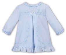 Sarah Louise Baby Girls Embroidered A-Line Dress - Ruffles & Bow - Blue