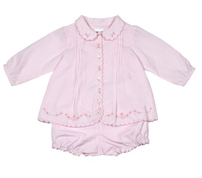 Sarah Louise Baby Girls Sweet Pink Embroidered Dress Set - Long Sleeves & Bloomers
