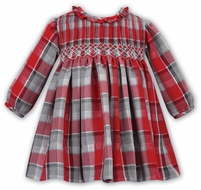 Sarah Louise Baby Girls Red / Gray Smocked Dress - Ruffle Neck
