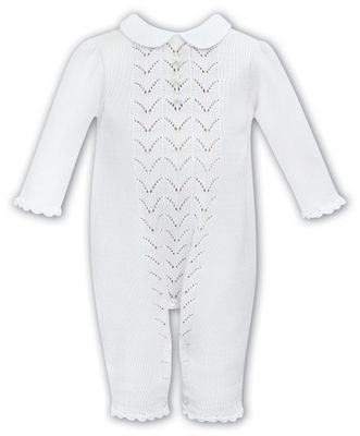 Sarah Louise Dani Baby Girls Pointelle Sweater Knit Romper - White
