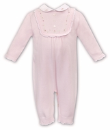 Sarah Louise Baby Girls Sweater Knit Ruffle Front Romper with Collar - Pink