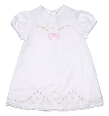 Sarah Louise Baby Girls White A-Line Voile Dress - Embroidery and Lace Trim