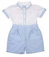 Sarah Louise Baby / Toddler Boys Blue Button On Shorts Outfit