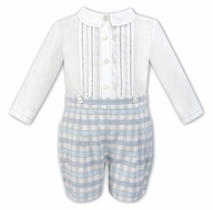 Sarah Louise Baby / Toddler Boys Blue Plaid Button On Shorts Outfit
